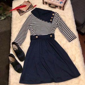 ModCloth Coach Tour A Line Dress 3/4 Sleeves